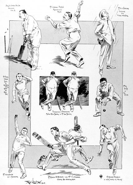 Illustration showing a number of the players in a one-day match between actors and authors held at Lord's cricket ground, June 1905