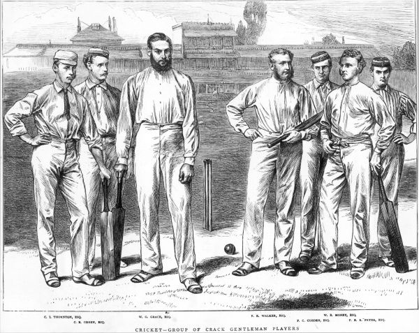 A group of crack gentleman cricket players in 1871 including the legendary W.G. Grace, third from left. Pictured at Lords cricket ground in 1871