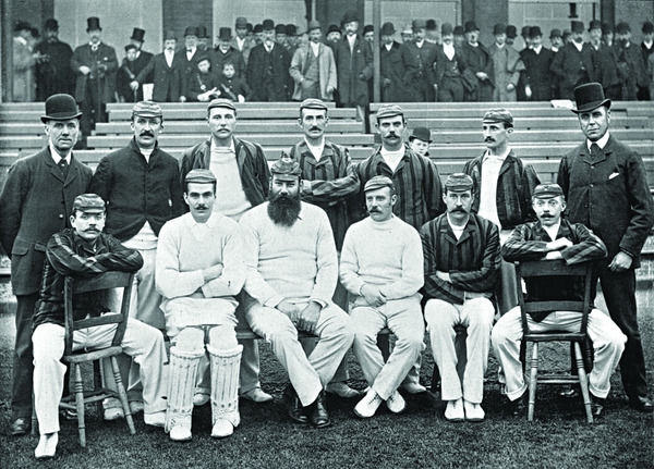 LORD SHEFFIELD'S AUSTRALIAN TEAM: CARPENTER, ATTEWELL, LOHMANN, READ, BEAN, SHARPE, THOMS, BRIGGS, MCGREGOR, GRACE, PEEL, STODDART, ABEL