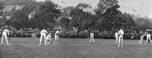 A scene from the County Championship match between Kent and Sussex at the Angel Ground, Tonbridge, Kent