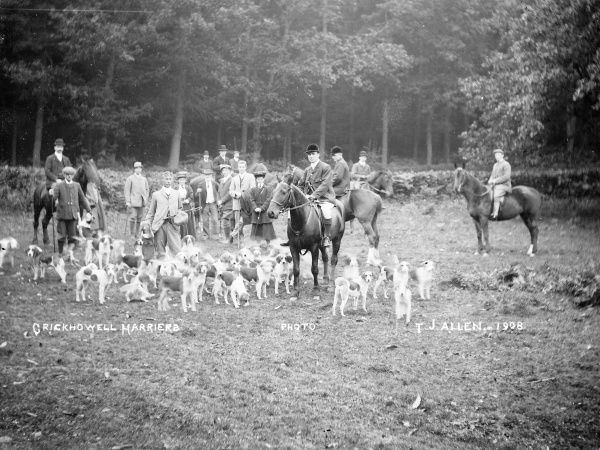 Members of the Crickhowell Harriers in a field with horses and hounds in Powys, Mid Wales