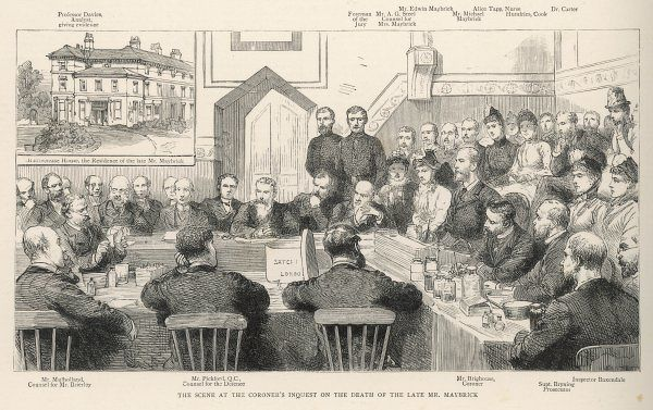 The coroner's inquest at the Maybrick. Mrs Florence Maybrick is eventually found guilty of poisoning her husband, James Maybrick and imprisoned