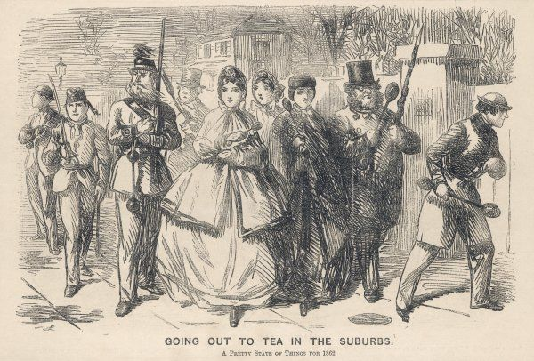 'Going out to tea in the Suburbs. A pretty state of things for 1862'. Women go visiting with an armed escort because of the garotting (mugging) scare of 1862
