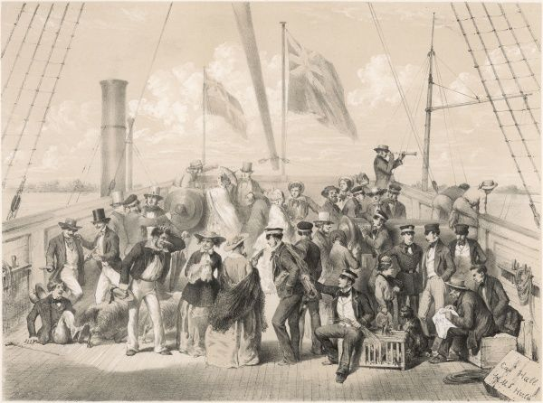 Swedish sightseers on board the Hecla after an attack on Russian defences near Eknas. Date: 1854
