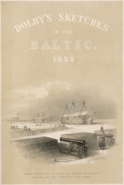 British naval vessels in the harbour at Balaklava, with tarpaulins stretched over the decks against the cold
