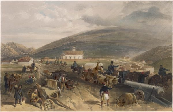 Commisariat difficulties : scene on the road from Balaklava to Sebastopol - supplies of food and munitions hampered by wet weather