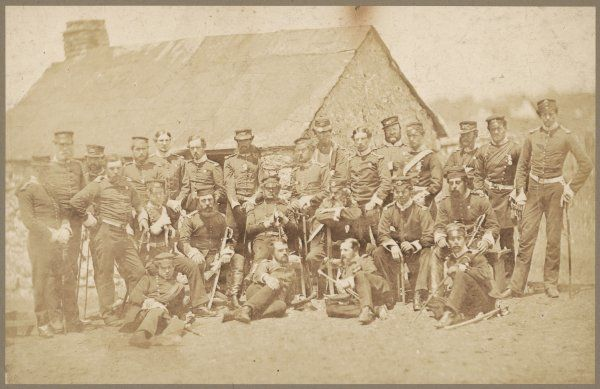 The Officers of the 48th Regiment of Foot (Northamptonshire) pose for a group photograph somewhere in the Crimea
