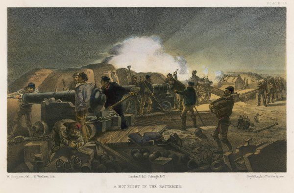 A hot night in the batteries during the Siege of Sebastopol