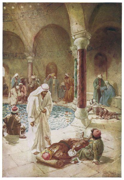 Jesus heals a crippled man at the Pool of Bethesda, in Jerusalem