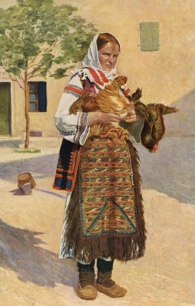 Croatia - Traditional National Costume (7/8) - country woman carrying some chickens