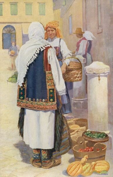 Croatia - Traditional National Costume (8/8) - Women shopping at a fruit market