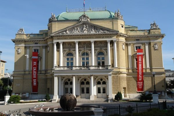 View of the Croatian National Theatre building, named after the musician Ivan Zajc, in the city of Rijeka, Croatia