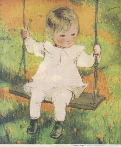 Charming illustration of a small child sitting on a swing amid a dazzling display of spring crocii or crocus