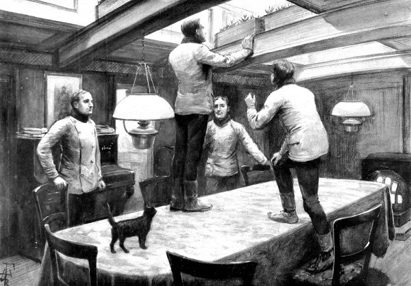 Illustration showing the wardroom of the Polar Research Ship 'Discovery', Easter Sunday, 1902. Several of the ship's officers can be seen climbing onto the dining table to look at their pots of crocuses