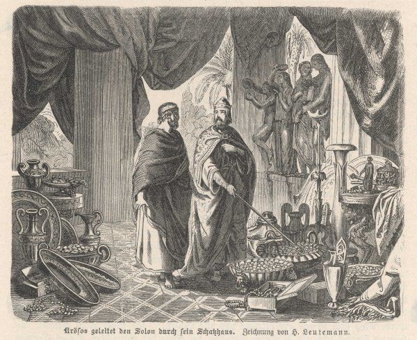 CROESUS KING OF LYDIA Showing Solon his wealth