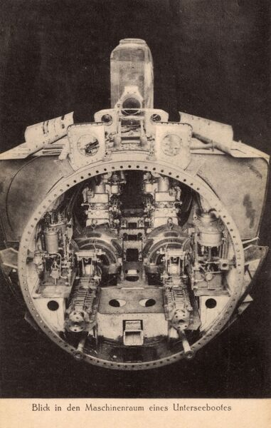 Marine Engine Room: Cross-section Of A U-boat Engine Room Date: Circa 1940s