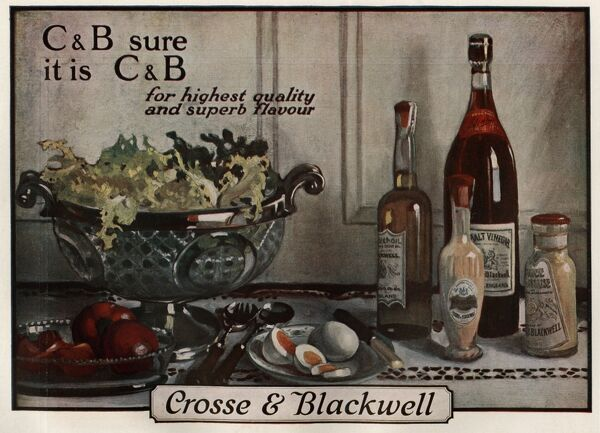 An assortment of condements mainly the bottles of vinegar and Oil made by Crosse and Blackwell, the illustration also shows various ingrediants of a salad such as tomatoes and letteuce as well as chopped eggs Date