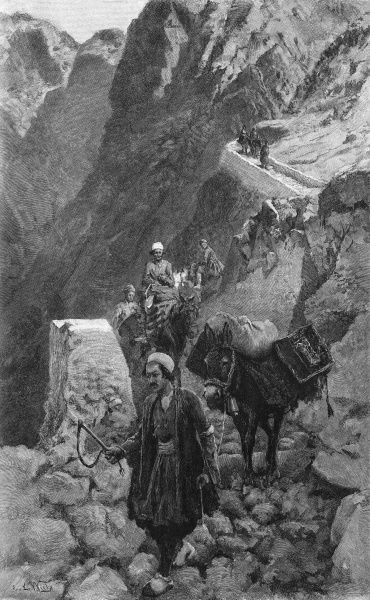 Crossing the Kotal mountains in Iran. Date: 1893
