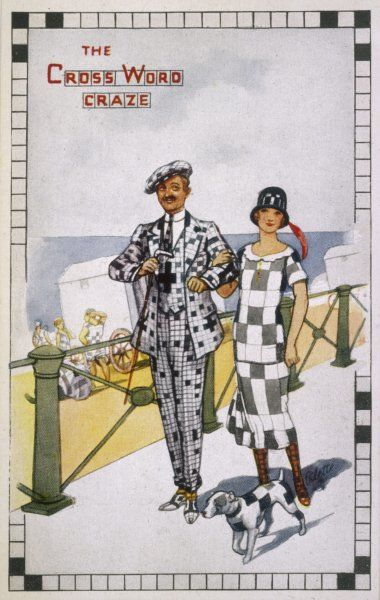 A dashing couple display the growing 'crossword craze' with their checked attire and similarly squared-off small dog!