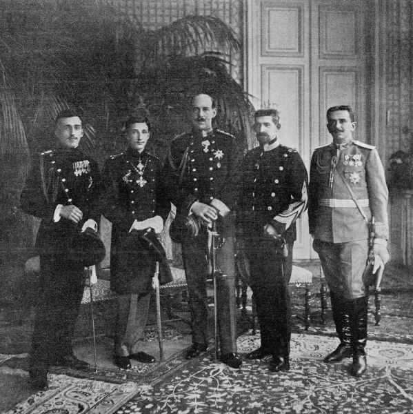 The crown princes of the Danube and Balkans kingdoms convening in Sofia- from left to right: Prince Alexandre of Serbia, Prince Boris of Bulgaria, Prince Constantin of Greece, Prince Ferdinand of Romania and Prince Danilo of Montenegro