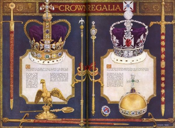 Illustrations of the Crown Regalia, along with descriptions of their individual roles in the Coronation ceremony. Includes the Crown of St. Edward and the Imperial State Crown, Swords of State, the Orb and Sceptres, and the Ampulla and Spoon