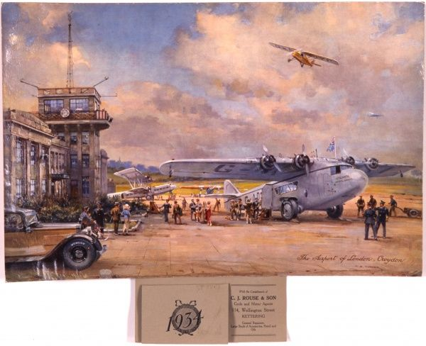 Passengers disembarking from a plane at Croydon Airport. The painting is entitled The Airport of London, Croydon