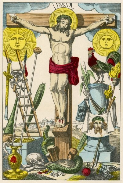 Jesus on his cross is surrounded with the attributes of his Passion - nails, sponge on a stick, St Veronica's handkerchief, scourges, 30 pieces of silver, cock etc