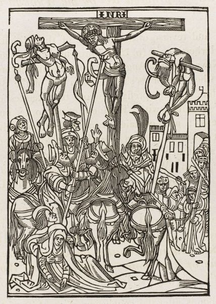 A soldier pierces Jesus's side to put him out of his torment while his two fellow-crucifees writhe in agony : illustration in Wynkyn de Worde's 1498 printing of the Golden Legend