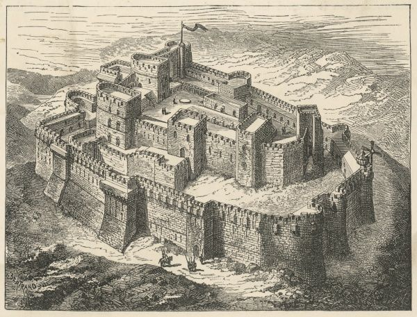 A Crusaders' Citadel in Syria - Krak, Syria - reconstruction of the fortress of the Knights Hospitallers. They took it from the Kurds in 1125 and rebuilt it in 1202