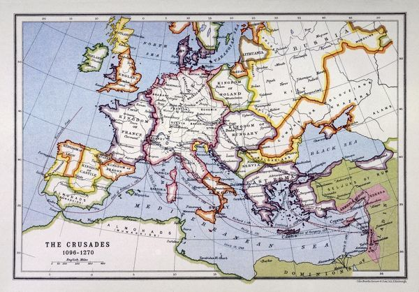 A map of Europe depicting the paths of various Crusades between 1096 and 1270