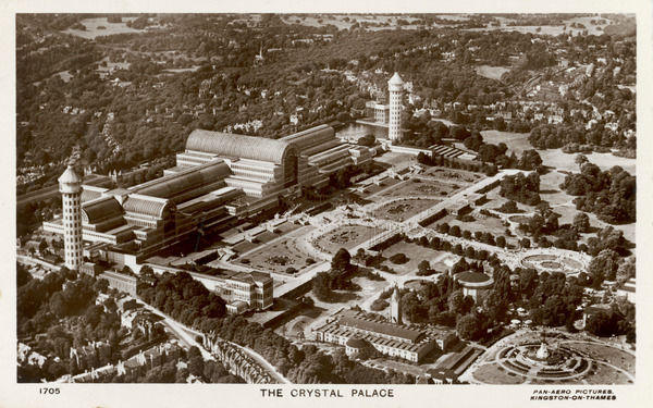 Aerial view of the Crystal Palace in its glory, surrounded by 200 acres of gardens and recreation facilities