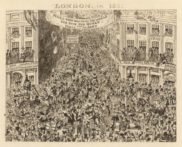 Utter chaos and gridlock in central London due to the sheer volume of visitors travelling to the Great Exhibition at the Crystal Palace in Hyde Park