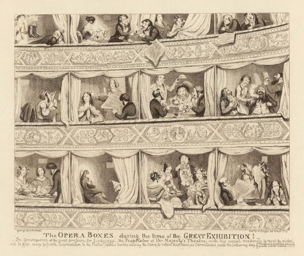 In consequence of the great pressure for lodgings, the Proprietor of Her Majesty's Theatre allows parties visiting the opera to live in their boxes until the next day