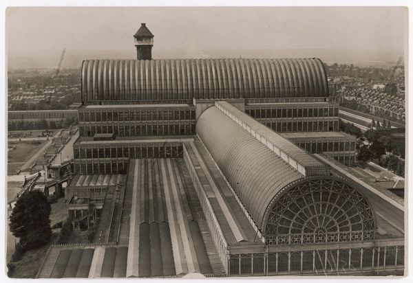 Photograph of the roof of the Crystal Palace, illustrating the scale of the structure and the skill of its architects and builders