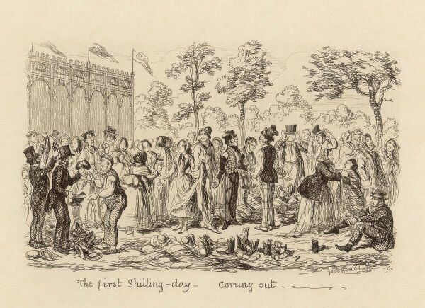 THE FIRST SHILLING DAY - COMING OUT Worn out working class visitors throw off their boots, shoes, hats and wigs in exhaustion