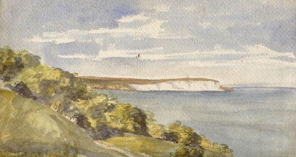 Culver Cliffs from the landslip, Isle of Wight. Date: circa 1860s