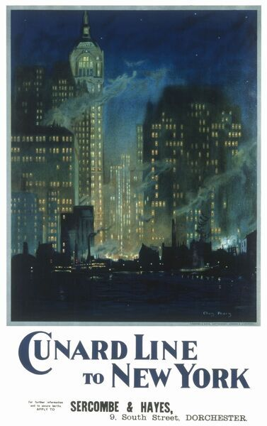 Poster produced by the passenger liner company Cunard advertising its service to New York. The poster includes a painting of the New York skyline by marine painter, Charles Pears