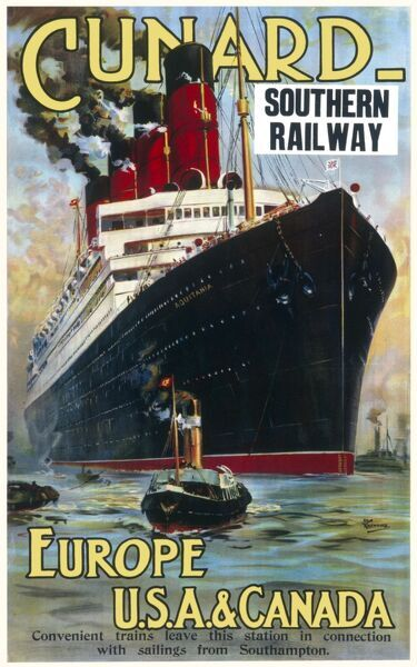 Cunard travel Poster for travel on the Aquitania cruise ship between Europe and the USA and Canada