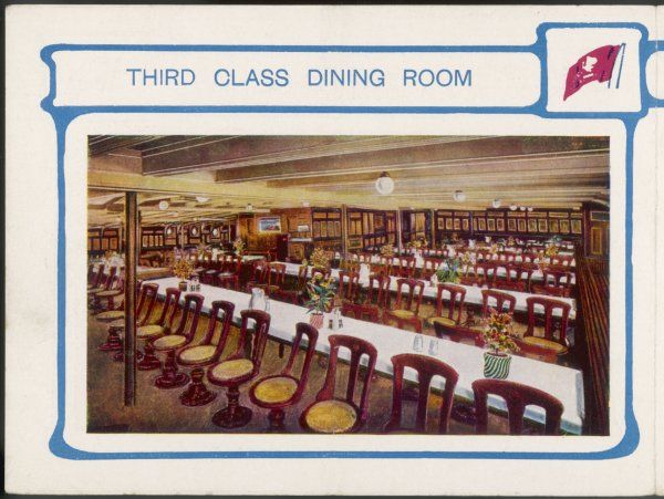 The third-class dining room of a Cunarder on the Atlantic run