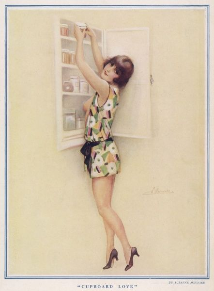 Lady dressed in a printed drop waist dress seductively reaching into a cupboard. Suzanne Meunier was a French artist who produced a number of erotic illustrations for The Sketch and The Bystander during the 1920s and 30s