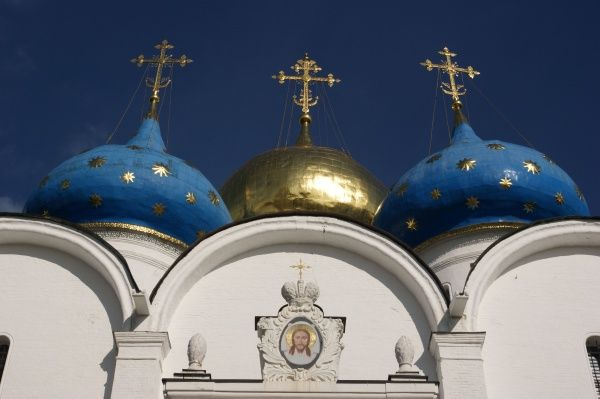 Moscow, Russia - Cupolas of the Ascension Cathedral. Date: 2010