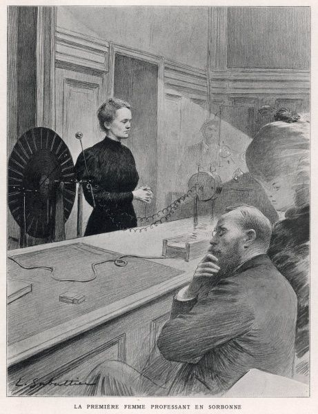 Marie she lectures on radio-activity at the Sorbonne, Paris November 1906