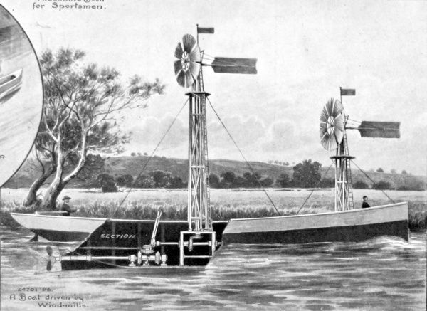 An illustration showing a cross-section of a boat propelled by windmills, cruising along a country river