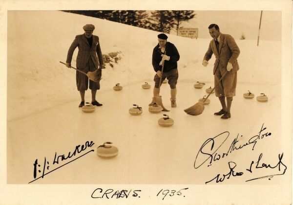 Postcard showing a scene at the Swiss ski and winter sports resort, Crans Montana in the Swiss Alps with some presumably well-known curling experts of the 1930s, including Walker and Worthington