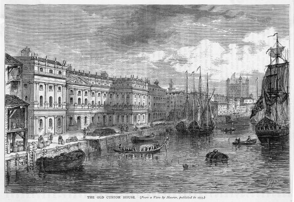 The old Custom House, with various shipping on the Thames