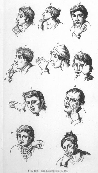 Gestures of contemporary Neapolitans, described by Jorio (thumbing the nose has 20 different meanings !)