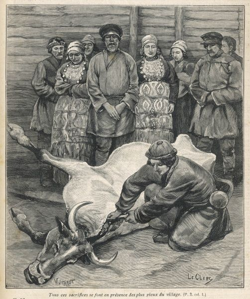 RUSSIA ; Votiak people of the Volga valley sacrifice cattle to Inmar, god of the Sun, and other deities