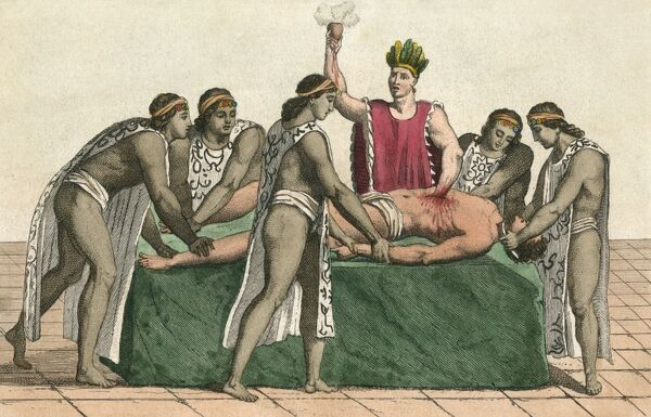 AZTECS OF MEXICO A priest at Tenochtitlan plucks the heart from a still- living victim Date: before 1519