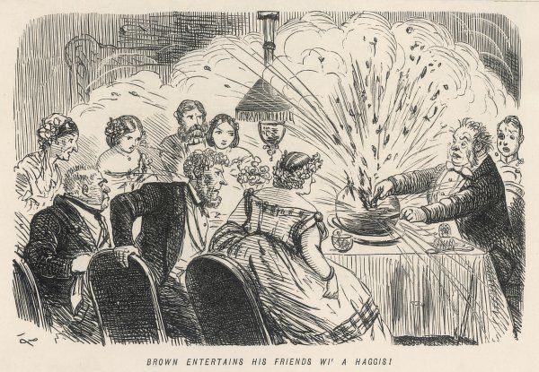Brown entertains his friends wi' a haggis by stabbing it and splattering them all as they sit around the table on Burns Night !