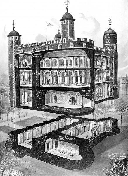 Cut-away illustration showing a number of the rooms of the Tower of London, including the Chapel of St. John, the Armouries and the cells of Guy Fawkes, Sir Thomas More and Sir Walter Raleigh